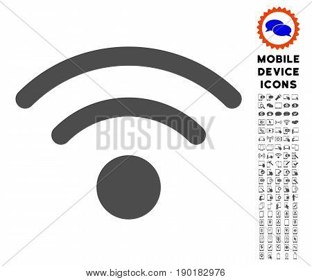 Wi-Fi icon with smartphone icon pack. Vector illustration style is a flat iconic symbol, gray colors. Designed for web and software interfaces.