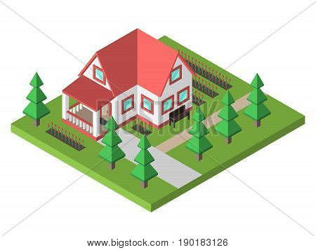 Modern small house with veranda garden flower beds bench and fir trees. Real estate and home concept. Flat design. EPS 8 compatible vector illustration no transparency no gradients