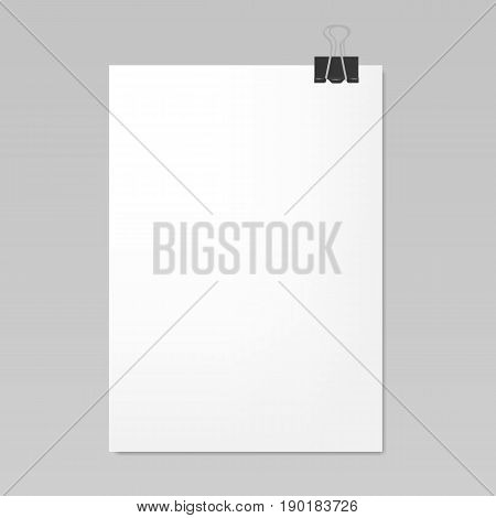 Blank white sheet of paper with clip, realistic mockup