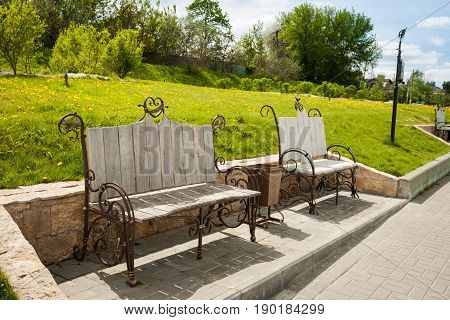 Forged Benches On Embankment Of River Moscow In Sunny Day In Kolomna Moscow Region.