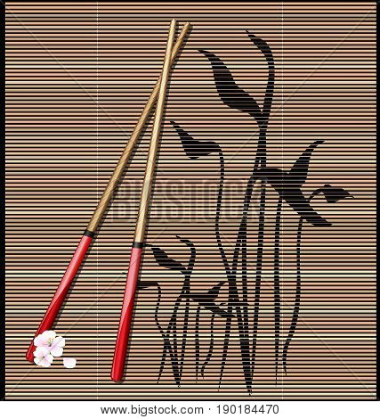 dark background, abstract image of straw mat and red chopsticks for sushi with pink flowers