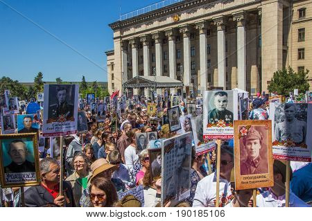 Almaty, Kazakhstan - May 9: Immortal Regiment March During The Victory Day Celebrations Victory In T