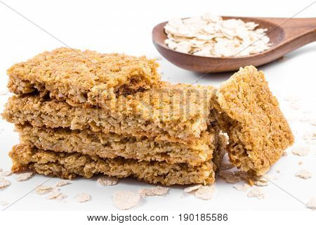 Oatmeal cereal bar isolated on white background