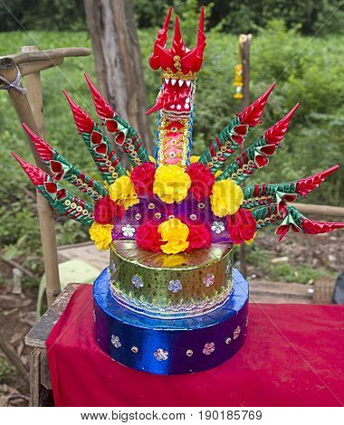snake offer flowers Buddhism Thailand , oriental