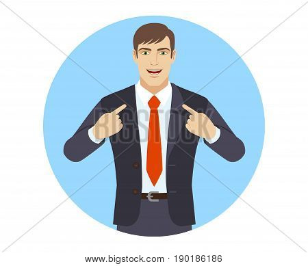 Self-promotion. Businessman pointing at himself. Portrait of businessman character in a flat style. Vector illustration.