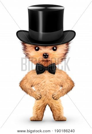 Funny gentleman doggy with black bow and cylinder hat. Realistic 3D illustration.