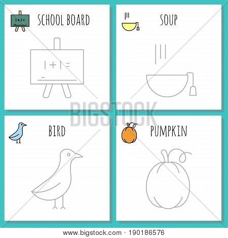 Coloring pages set symbols of autumn. painting page, game for children. big set