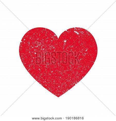 Isoltted distress grunge heart with concrete texture. Element for greeting card Valentine s Day wedding t-shirt. Creative concept. Vector illustration