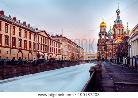 RUSSIA, St. Petersburg - APRIL 14, 2017: Church of the Savior on Spilled Blood in St. Petersburg, Russia