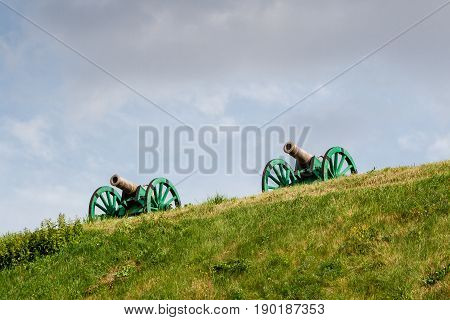 The Ancient Guns Stand On The Mountain