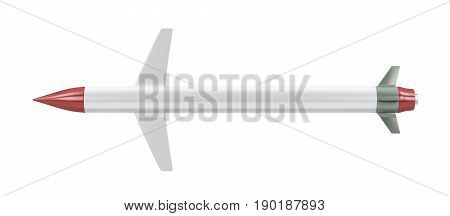 missile isolated on white background - top view,  3D illustration