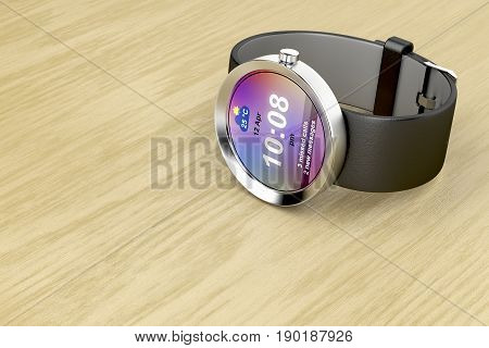 Silver smart watch on wooden table, 3D illustration