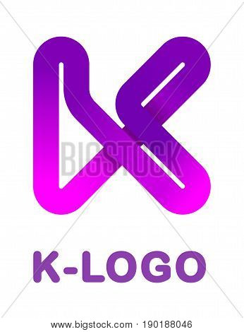 Abstract letter K - creative logo template vector illustration. Logo for corporate identity of company of ribbon, closed line of gradient color, tortuous path. Neon glowing letter. Typographical font. Graphic design elements. Graphic design elements.