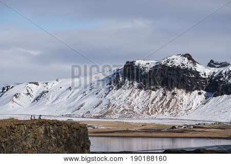 Iceland landscape, popular landmark Black Sand Beach in Vik, Iceland