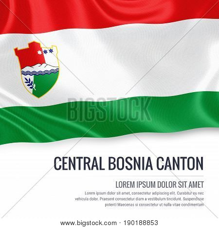 Federation of Bosnia and Herzegovina state Central Bosnia Canton flag waving on an isolated white background. State name and the text area for your message. 3D illustration.