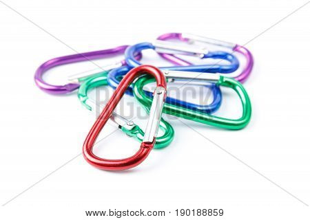 close up color carabiner isolation on white background