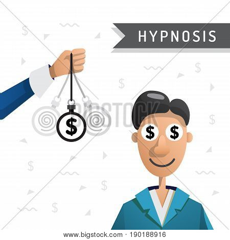 People enter into a state of hypnosis so that he earned more money. Hypnosis for money. Vector illustration isolated on white background