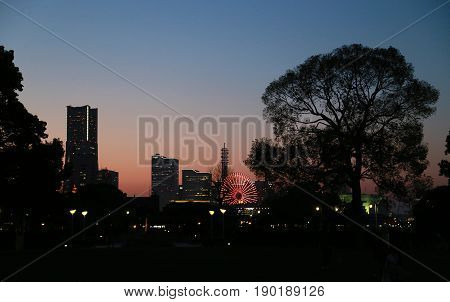 Evening landscape in the sky of gradation color in Yokohama Japan