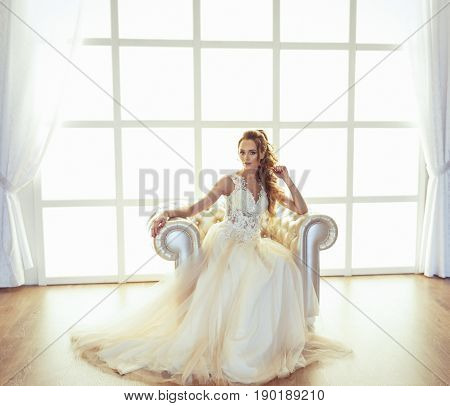 Beautiful bride with wedding hairstyle. portrait of young bride. Wedding. Beautiful bride on the wedding day