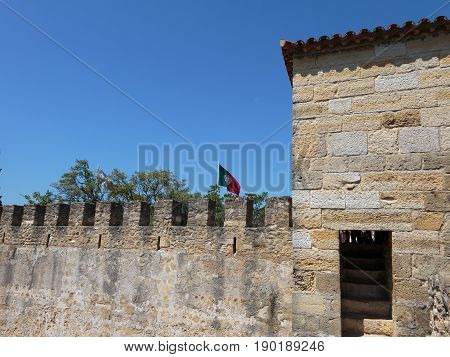Castle Of Sao Jorge: External Wall And Portuguese Flags