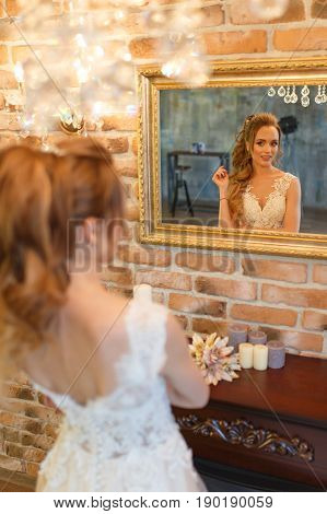 Beautiful bride Portrait of a wedding makeup and hairstyle fashion bride gorgeous beauty smiling happy bride woman