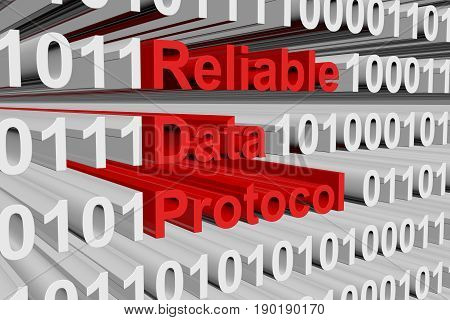 Reliable Data Protocol in the form of binary code, 3D illustration