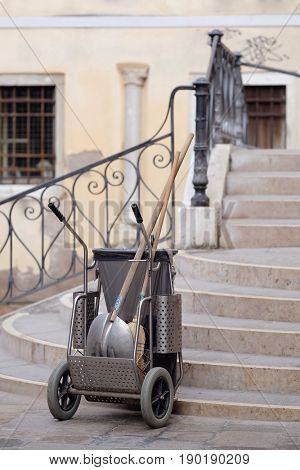 Venice, Italy, May, 31, 2017: trolley with sweeper's equipment in Venice, Italy