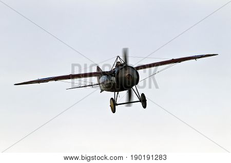NORTHILL, UK - OCTOBER 5: A vintage Bristol scout fighter aircraft from the WW1 era prepares to land at the Old Warden aerodrome having given a display to the public on October 5, 2014 in Northill.