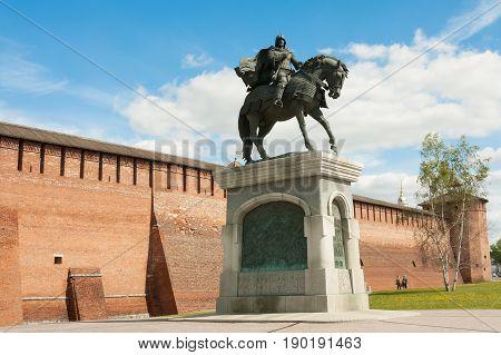 Monument To Dmitry Donskoy Near Marinkina Tower Of Kremlin In Sunny Spring Day In Kolomna Moscow Region.