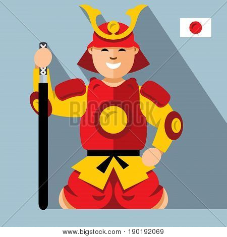 Warrior in armor with a sword sitting on his lap. Isolated on a color background