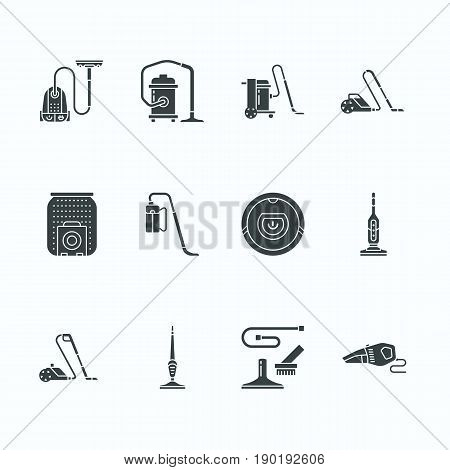 Vacuum cleaners flat glyph icons. Different vacuums types - industrial, household, handheld, robotic, canister, wet dry. Signs for housework equipment shop.