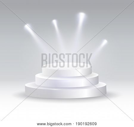 Round podium illuminated by spotlights. Vector illustration EPS 10