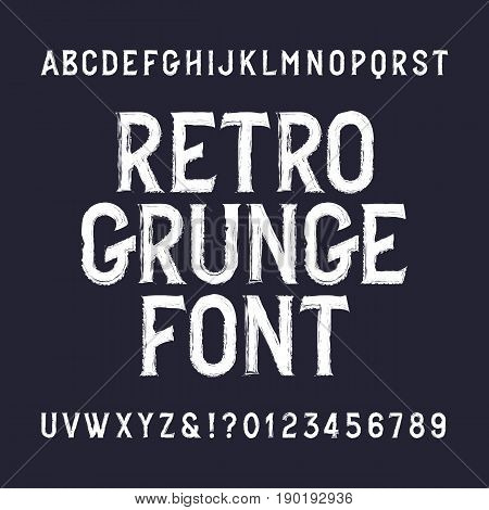 Retro grunge alphabet font. Distressed letters and numbers. Vintage vector typeface for your design.
