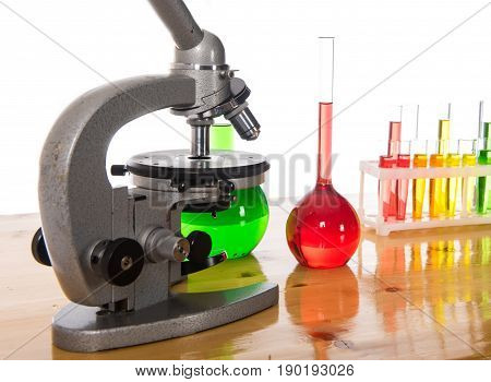 School items for chemistry lesson on white background