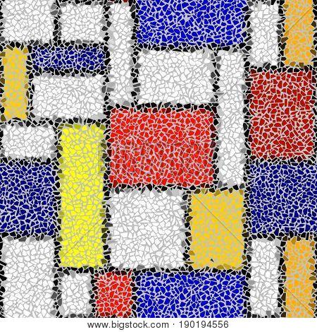 Seamless background pattern. Decorative mosaic art pattern in Mondrian style.