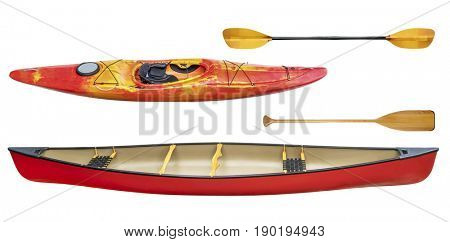 whitewater kayak, tandem canoe and paddles isolated on white