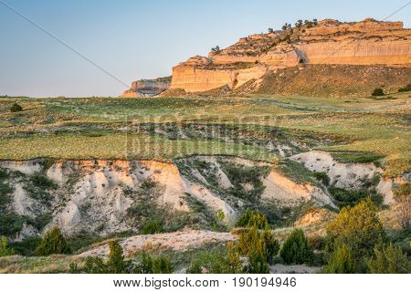 Scotts Bluff National  Monument in Nebraska, spring scenery in sunset light