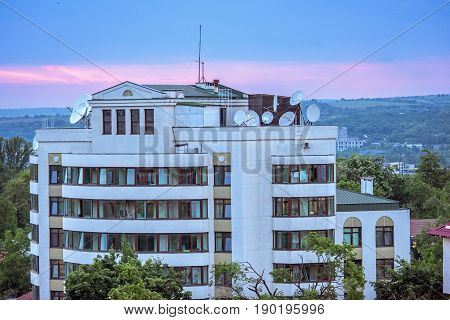 View on russian embassy in chisinau city, sunset with purple sky, Moldova