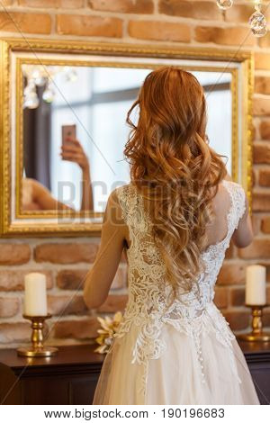 Wedding. Beautiful bride. Beautiful Bride Portrait wedding makeup wedding hairstyle Wedding dress. Wedding decoration.