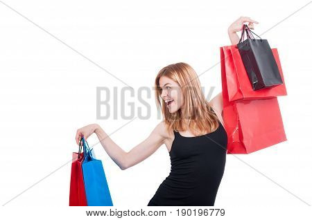 Cheerful Shopper Girl With Colorful Bags