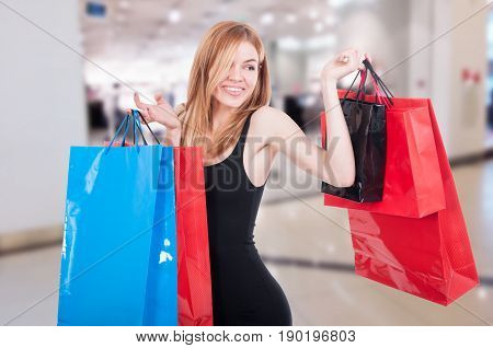 Beautiful Female Shopper Smiling Happy