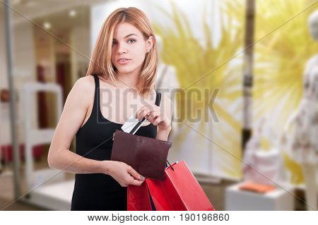 Beautiful Shopper Paying With Debit Or Credit Card