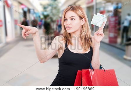 Young Shopper With Euros At Shopping