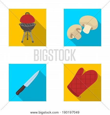 Barbeque grill, champignons, knife, barbecue mitten.BBQ set collection icons in flat style vector symbol stock illustration .