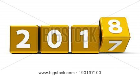 Gold cubes with 2017-2018 change on a white table represents the new 2018 three-dimensional rendering 3D illustration