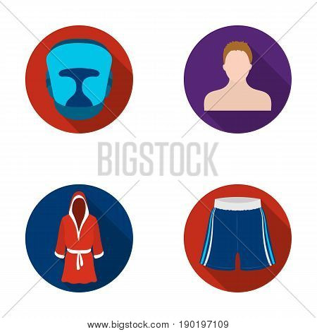Boxing, sport, mask, helmet .Boxing set collection icons in flat style vector symbol stock illustration .