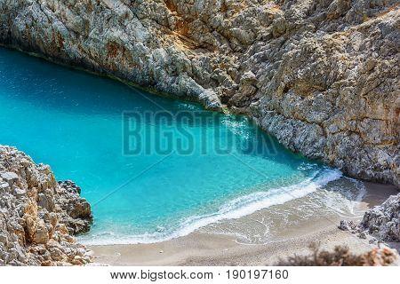 Seitan limania or Stefanou beach, Crete island, Greece