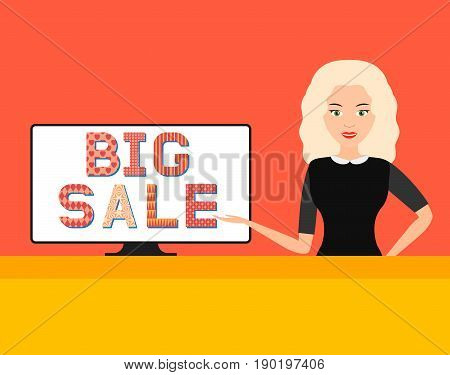 Big sale in online store. beautiful girl points to the computer monitor. vector illustration.