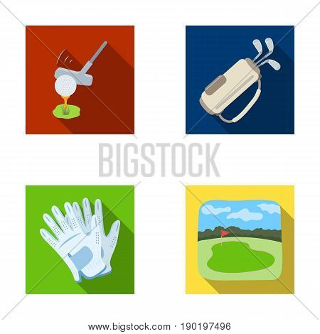 A ball with a golf club, a bag with sticks, gloves, a golf course.Golf club set collection icons in flat style vector symbol stock illustration .