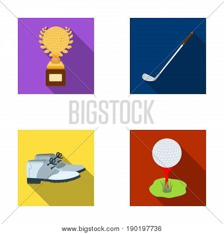 Cup, golf club, ball on the stand, golfer shoes.Golf club set collection icons in flat style vector symbol stock illustration .